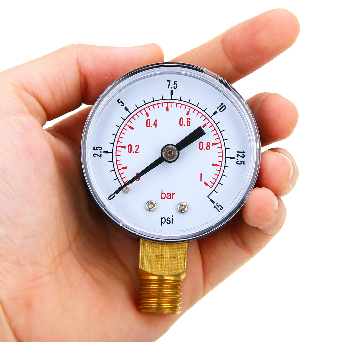 1 X Low Pressure Gauge for Fuel Air Oil Gas Water 50mm 0-15 PSI 0-1 Bar 1//4 BSPT