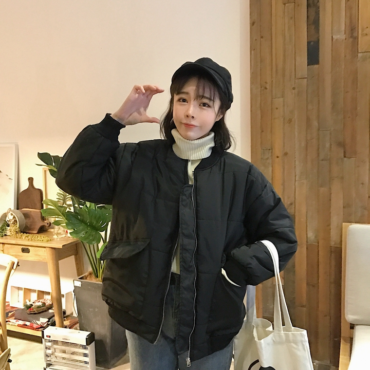 Pengpious padded Femlae Casual Warm Keep Baseball Big Outwear Solid Jacket Black Women Pocket Cotton Color Thick Clothes eige B4wBqr