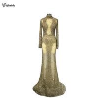 YYbride полный Бисер BlingBling Lxury платья с высоким воротом одежда с длинным рукавом золотые платья на выпускной эротичное с вырезом на спине русал...