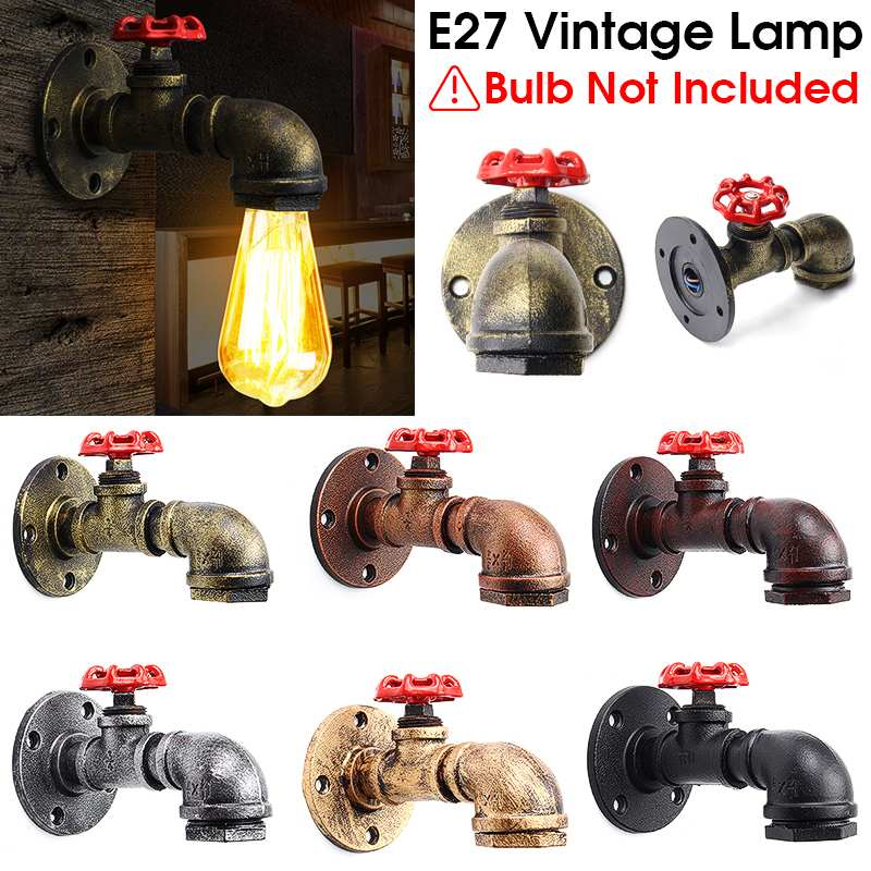 Hot Sell E27 Vintage Industrial Rustic Wall Sconce Wall Light Fixture Fitting Water Pipes Style 2|LED Indoor Wall Lamps| |  - title=