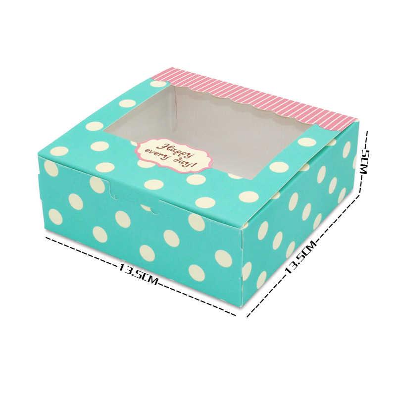 12 pcs regalo di imballaggio della scatola di favore di cerimonia nuziale di carta torta scatola di dolciumi fatto a mano cupcake festa di compleanno scatola regalo con finestra dots