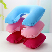 Inflatable Neck Pillow U Shaped Travel Car Head Rest Air Cushion for Flocking Soft