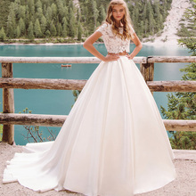 2 pieces New Design Boho Wedding Dresses Top Lace Short Sleeve Lace Applique Ball Gown Bride Dress Vestido De Novia