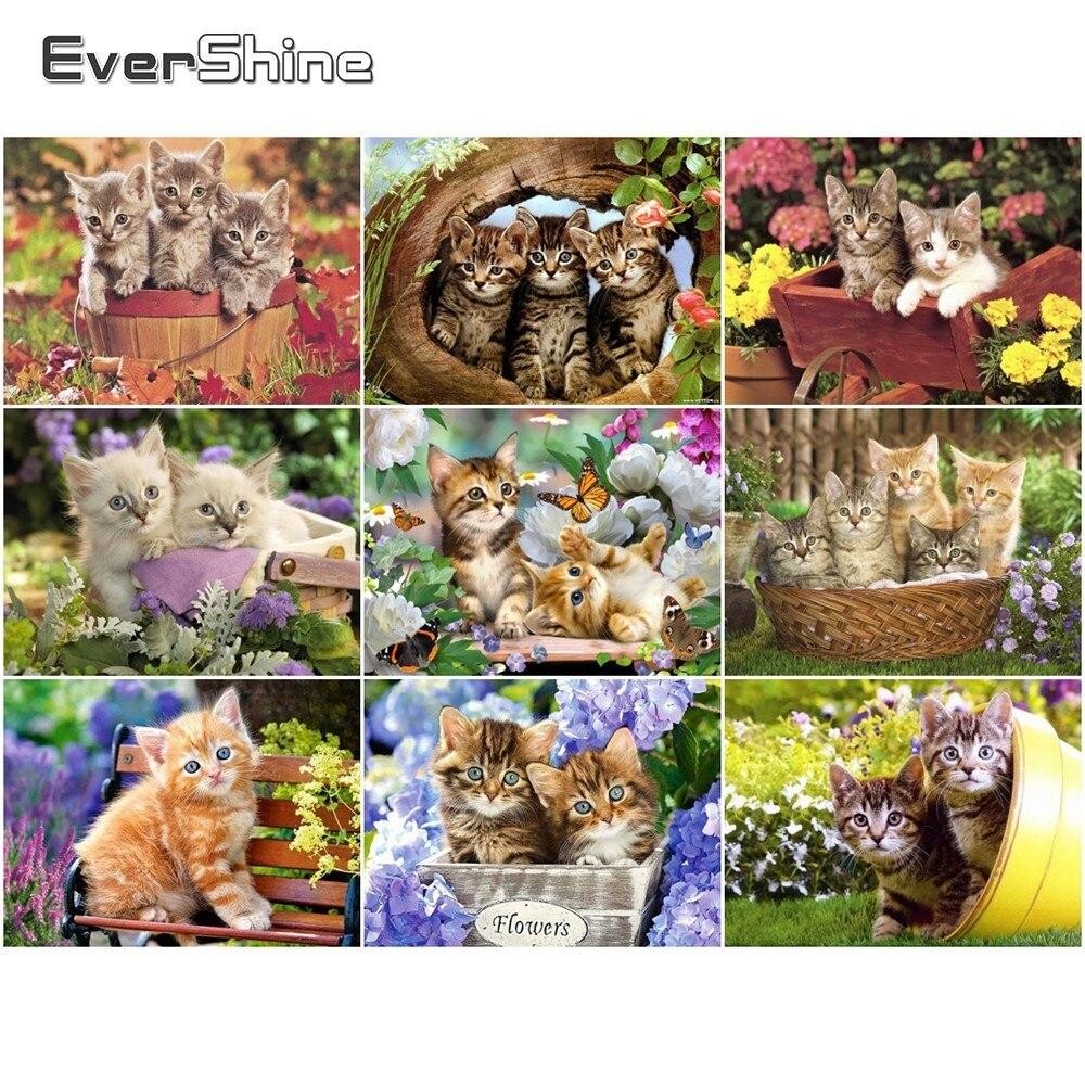 EverShine 5D Diamond Painting Cat Picture Of Rhinestones Diamond Embroidery Full Display Animals Cross Stitch Diamond Mosaic