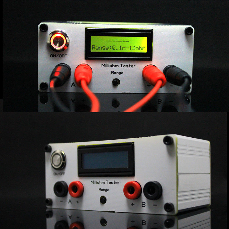 2018 précision Milliohm mètre quatre fils numérique LCD Micro-ohm mètre résistance mètre dc 12 v avec Kelvin 4 fils test clip