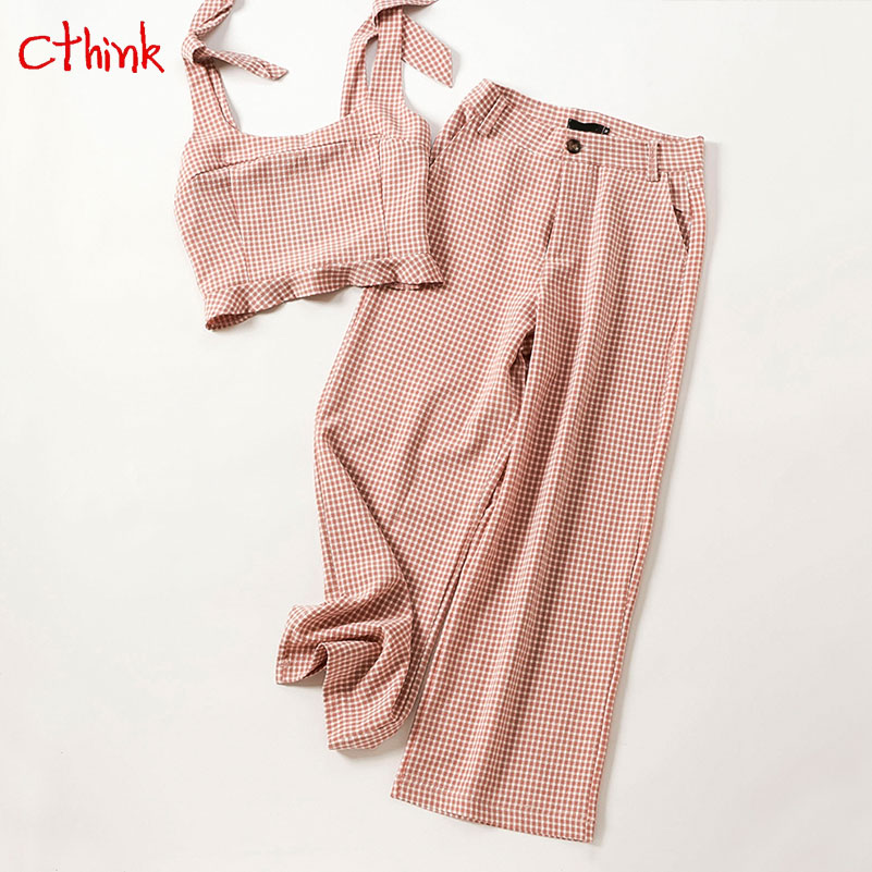 Spring Pink Plaid Cropped Tops And Wide Leg Pants Women New Sale Fashion Ankle Length Pant Two Pieces Sets For Woman 2 Piece Set