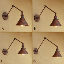Vintage Industrial Umbrella Wall Lamp adjustable Swing Arm Sconce Porch Bedroom Balcony Stair Restaurant Bar Wall Light 110-220v retro two swing arm wall lamp for bedroom bedside adjustable wall mount swing arm lamp