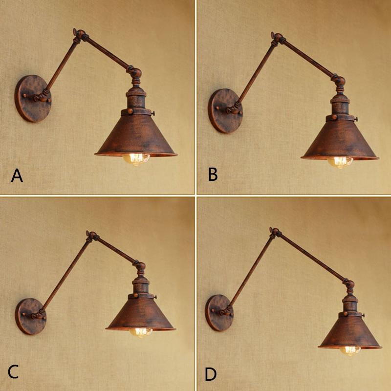 Vintage Industrial Umbrella Wall Lamp adjustable Swing Arm Sconce Porch Bedroom Balcony Stair Restaurant Bar Wall Light 110 220v