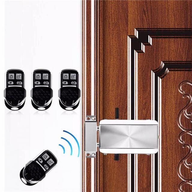 Househol Keyless Entry Electronic Remote Door Lock Wireless Invisible Anti-theft Intelligent Lock With 4 Remote Keys
