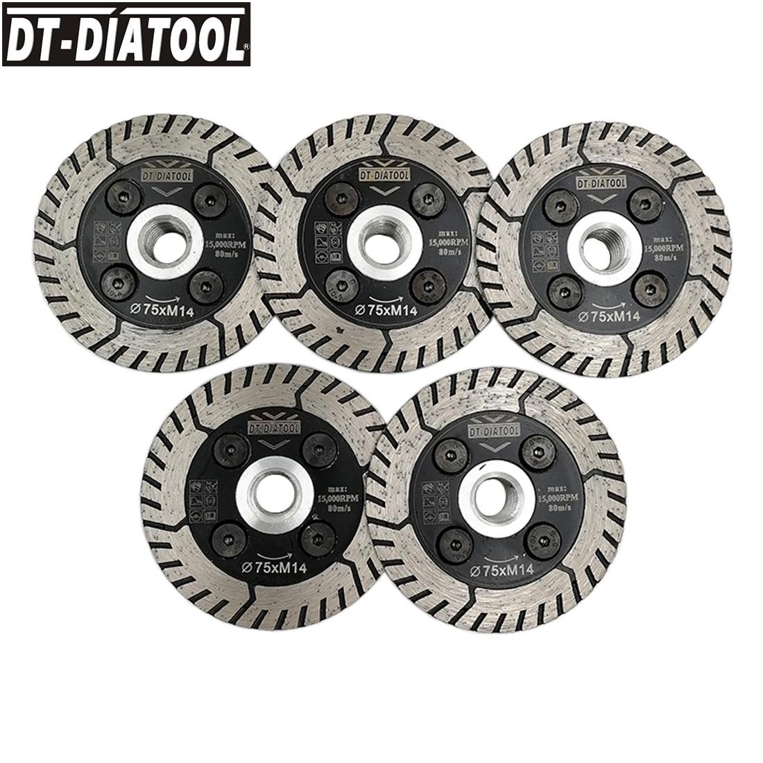 DT DIATOOL 5pcs pk Dia 75 115 125mm Diamond Saw Blades Cutting Grindng Disc M14 or
