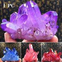 Пламя аура кварцевый камень кристалл кластер минеральный камни лечебные камень декоративное украшение предмет интерьера