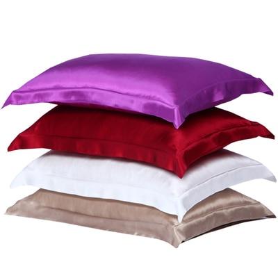 2pcs  Pure Emulation Silk Satin Pillowcase Single Pillow Cover Multicolor 48*74cm