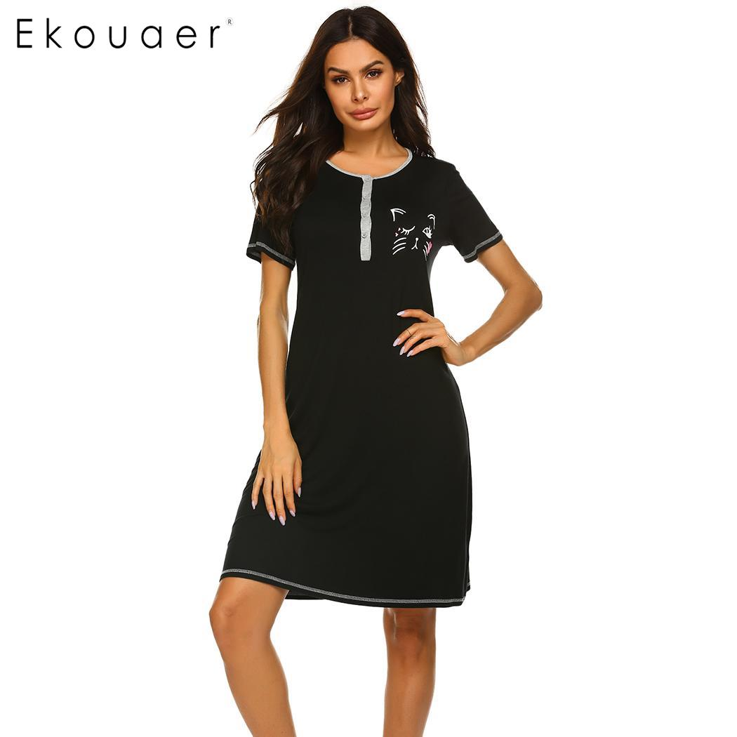 Image 2 - Ekouaer Women Nightgown Sleepshirts O Neck Short Sleeve Printed Soft Loose Night Dress Female Sleepwear Summer Dress Homewear-in Nightgowns & Sleepshirts from Underwear & Sleepwears