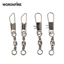 50pcs/Lot Stainless Steel Fishing Connector Pin Bearing Rolling Swivel 1#2#4#6#8#10#12#14# Lure Tackle FishHook Accessorries
