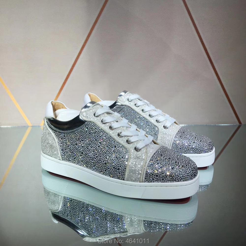 Lace Up cl andgz leather Red bottoms Shoes low Cut For Men Silver Glitter Rhinestone diamond