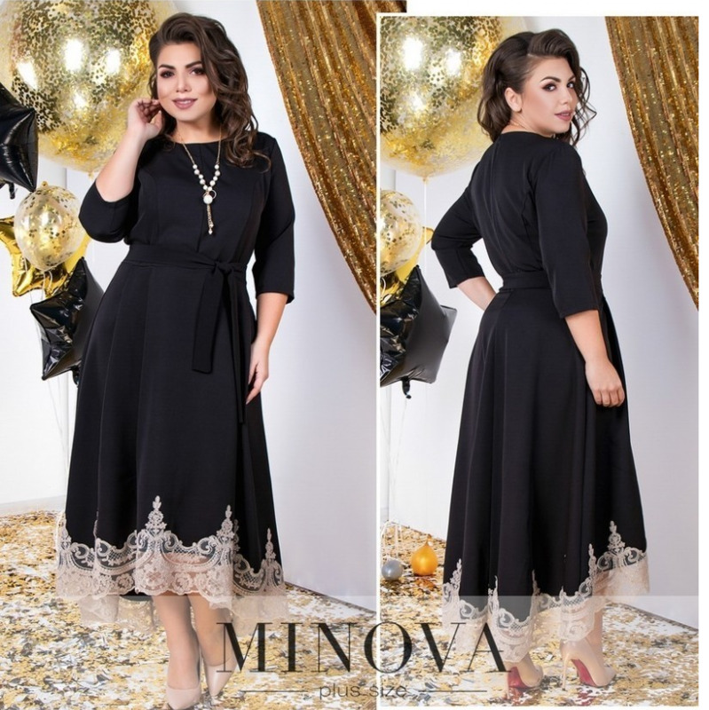2018 Winter Women Dress Black Lace Party Dress Plus Size Long Dres...