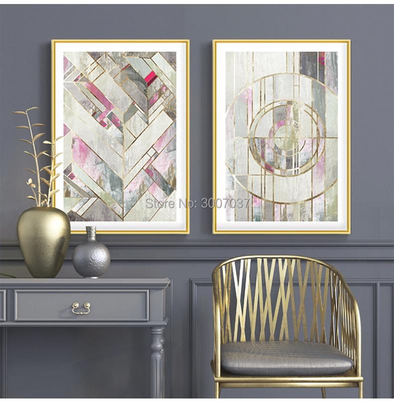 100% Handgemalte Moderne Abstrakte Ölgemälde Hause Wand Kunst Leinwand Set Gold und Grau Farbe Kunstwerk Für Wohnzimmer decor - 5