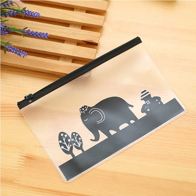 Ellen Brook 1 Piece Korea Fashion Stationery Lovely Cute Kawaii Animals Creative PVC Pencil Receive Bag School Office Supplies