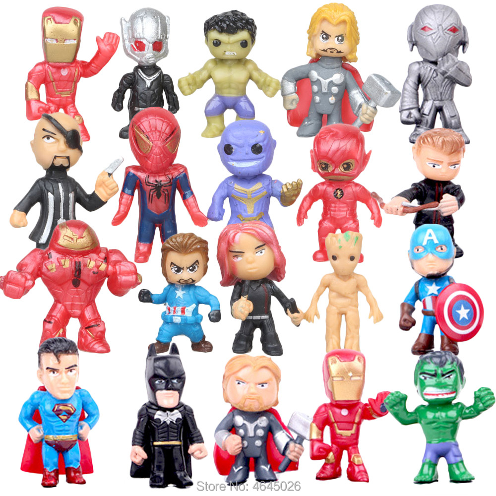 Marvel Comics Superheroes Miniature Thanos Antman PVC Action Figures Thor Spiderman Anime Figurines Dolls Kids Toys for Children image