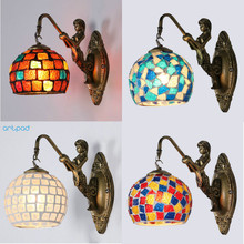 Artpad Mediterranean style Art Deco Turkish Mosaic Wall Lamp Stained Glass Lampshade Retro Vintage Mounted Bracket Light