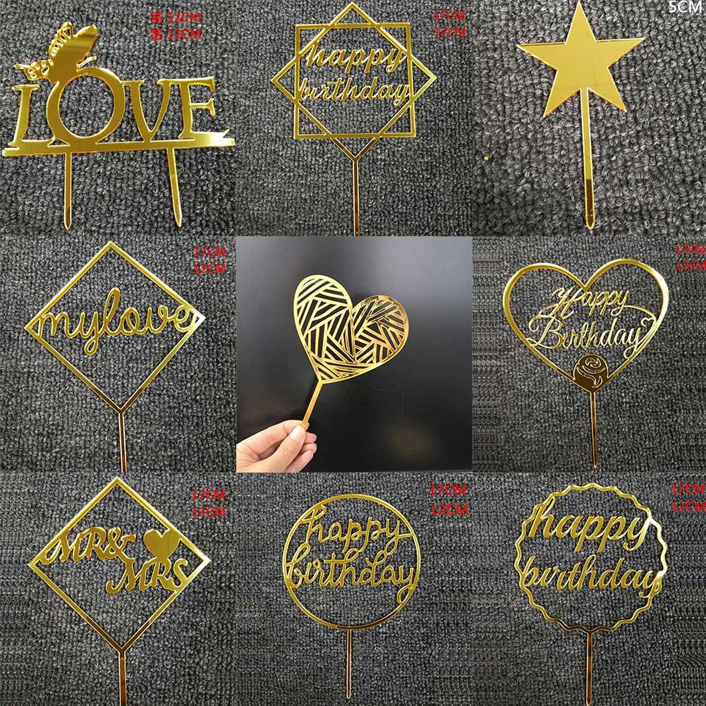 Glitter Happy Birthday Cake Topper Acrylic Letter Gold Silver Cake Top Flag Decoration For Birthday Party Wedding Supplies Tools