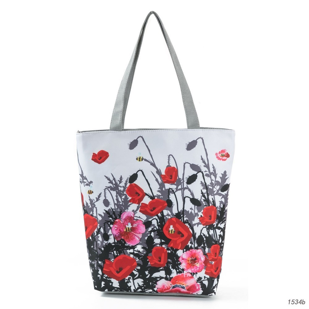 Mohn Gedruckt Sommer Strand Handtaschen Frauen Casual Leinwand Große Kapazität Einkaufstaschen Weibliche Frische Stil Weiß Tote Schultertaschen Damentaschen