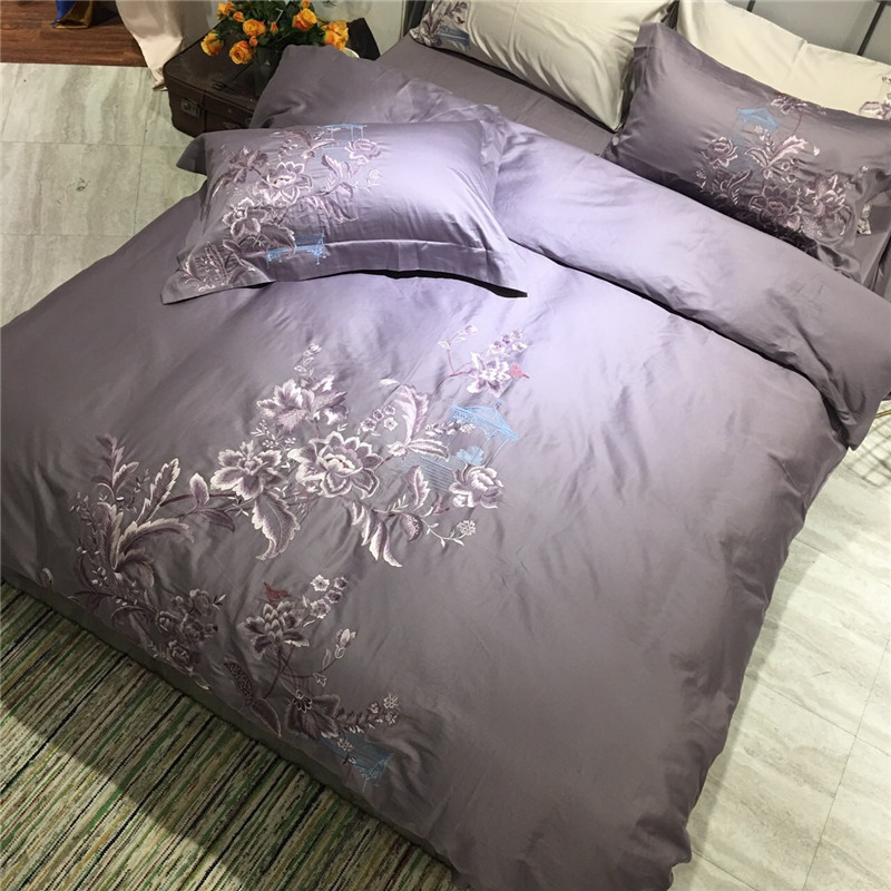 Embroidered Four Pieces Of Rich Flowers Bloom Cotton Embroidery Technics Bedlinens Duvet Cover Sheet Pillow Cases 30Embroidered Four Pieces Of Rich Flowers Bloom Cotton Embroidery Technics Bedlinens Duvet Cover Sheet Pillow Cases 30
