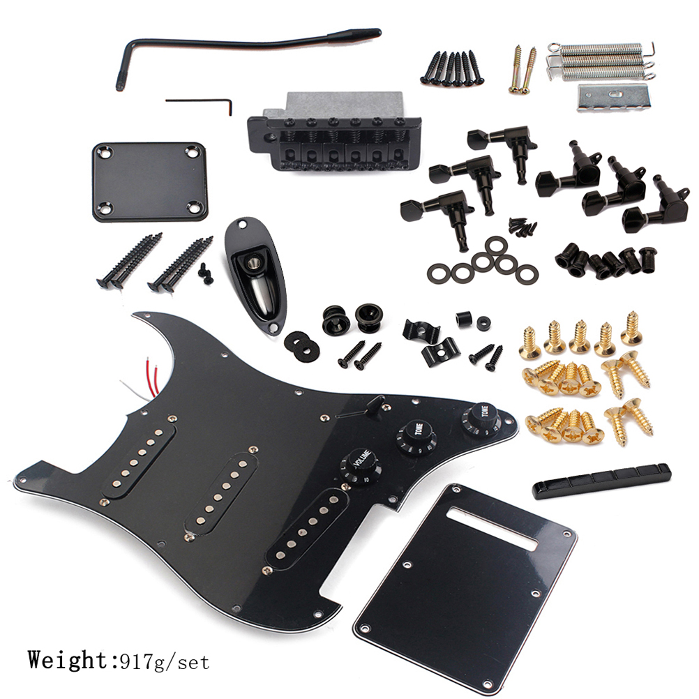 DIY Electric Guitar Kit Pickguard Back Guitar Bridge Cover System ST Style Full Accessories Kit For