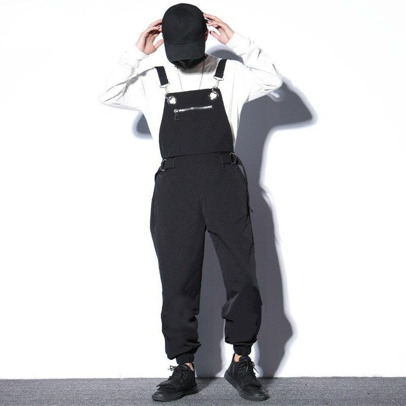 #2306 Spring2019 Schwarz Herren Overalls Lose Hip Hop Koreanische Streetwear Hosen Männer Jogger Lose Harem Hosen Baumwolle Herren Overall