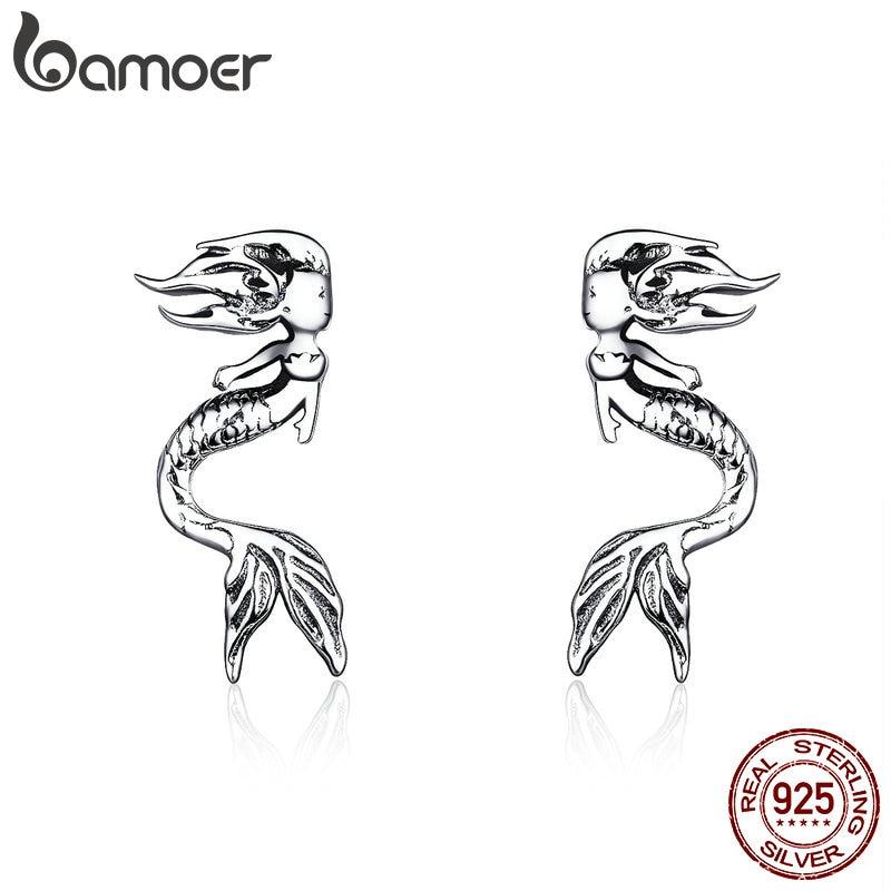BAMOER 2019 Fashion Earrings 925 Sterling Silver Vintage Mermaid Figure Stud Earing For Women Ear Pin Gifts For Girl SCE588
