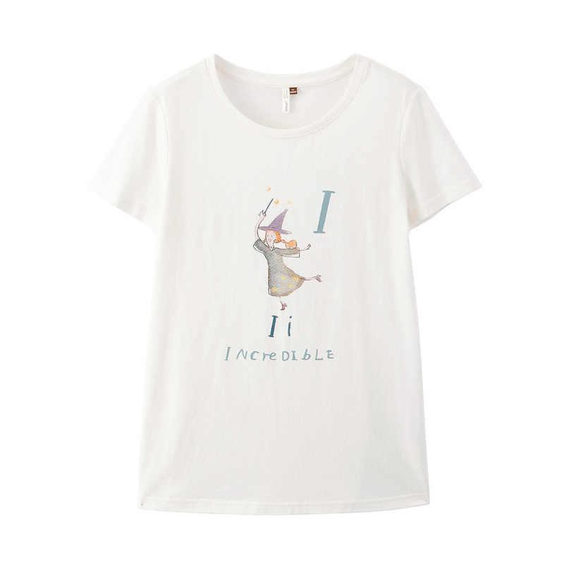 אינמן 2019 קיץ הגעה חדשה O-צוואר הדפסת קוריאני אופנה סטודנט סגנון כל מתאים מזדמן קצר שרוולים נשים חולצה