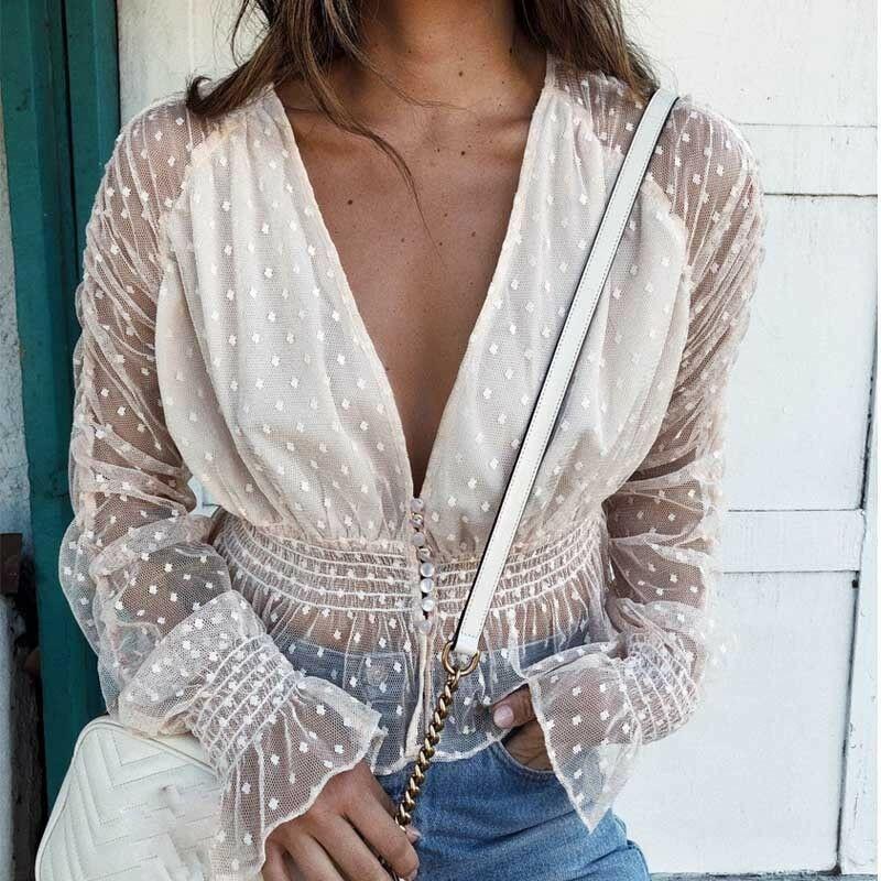 Women Sexy Mesh Sheer Blouse Shirts Slim Tops Ladies Long Sleeve Ruffle Deep V Neck Solid Casual Summer Costume Fashion New 2019