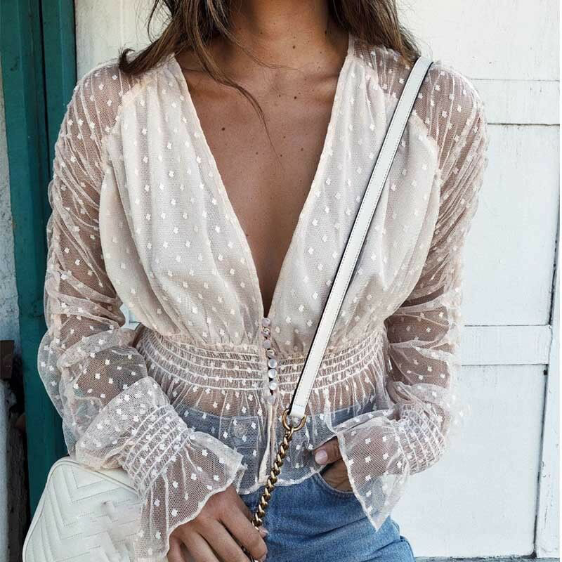 Women Sexy Mesh Sheer   Blouse     Shirts   Slim Tops Ladies Long Sleeve Ruffle Deep V Neck Solid Casual Summer Costume Fashion New 2019