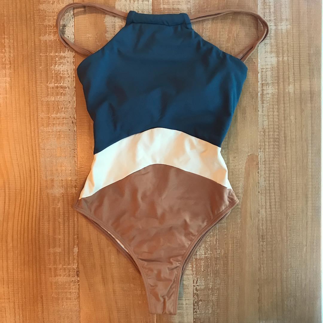 2019 Patchwork One Piece Swimsuit Swimwear High Neck Bodysuit Bathing Suit Women Piece Swimwear Beach Wear Monokini