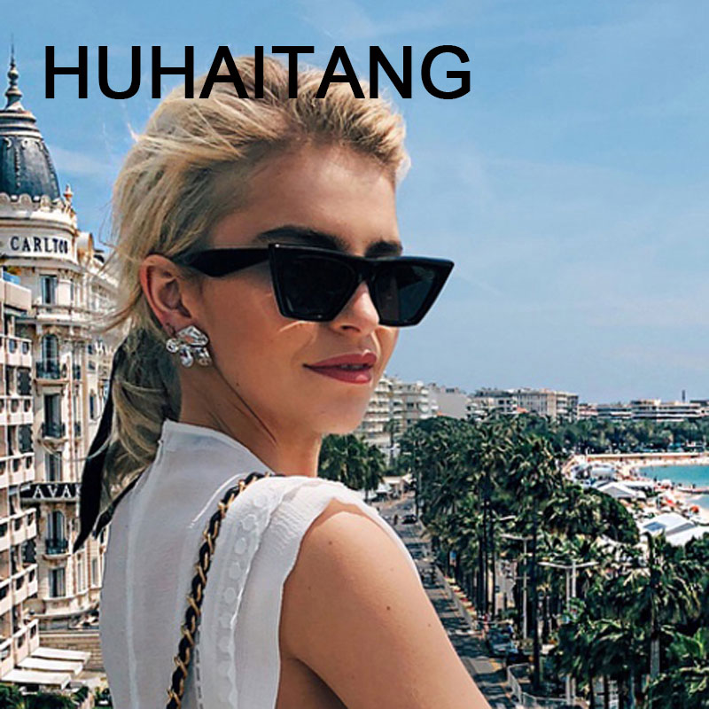 HUHAITANG Vintage Luxury Brand Square Sunglasses Women 2019 Cateye Sun Glasses Shades For Woman Sunglass Ladies Retro Sunglases image