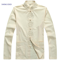 Sheng Coco Men Chinese Clothing Long Sleeve Male Chinese Clothing Kung Fu Wushu Shirts Linen Cotton Traditional Clothes 3XL Tops