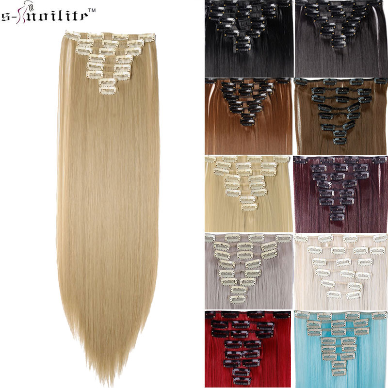 s-noilite SNOILITE 26inch 8pcs/set clip in hair extensions straight natural synthetic