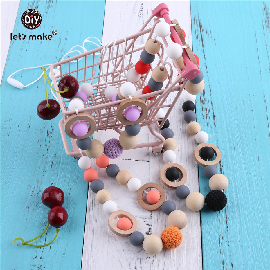 Купить с кэшбэком Let's Make Silicone Beads Crochet Beads Wooden Teether DIY Bracelet And Necklace Nursing Baby Products Chew Toys Baby Teether