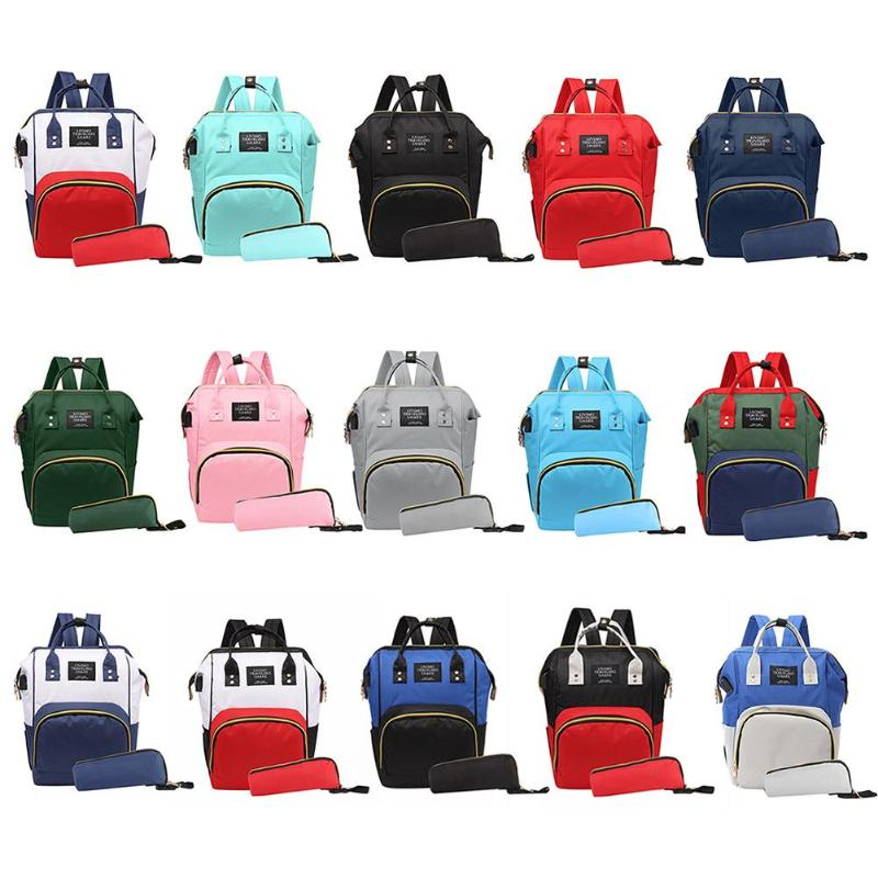 2pcs/set Mummy USB Travel Backpack Large Capacity Baby Care Nappy Bag Diaper Nursing Clutch Handbag Waterproof Casual Laptop Bag