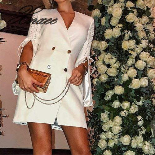 Sexy V Neck Lace Up White Blazer Dress Women Elegant Split Short Mini Dress Office Lady Blazer Dresses Chic Vestidos