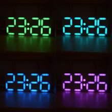 Large Size Rainbow Color Digital LED Alarm Clock