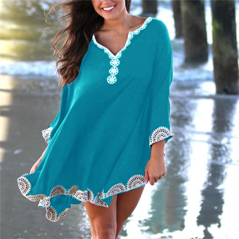 Summer Women Cotton Beach Dress Cover up Pareo Embroidery Kaftan Batwing Sleeve Loose Holiday