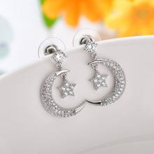 Korean New Silver Color Moon Star Drop Earrings Women Classic CZ Cubic Zircon Moon Earrings For Female Wedding Jewelry недорого
