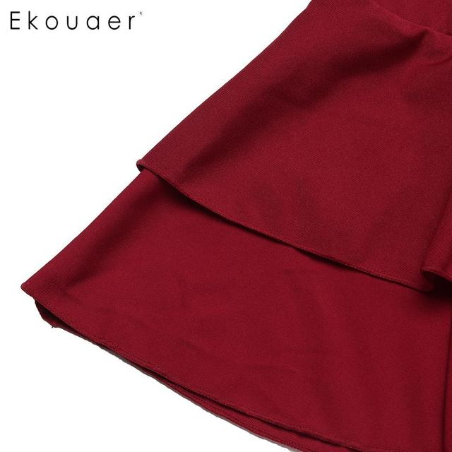 Ekouaer Women Mini Skirt Sexy Short Skirt Nightwear Double Ruffle Layered Elastic Skirt Cosplay Student Uniform Pleated Skirts 10