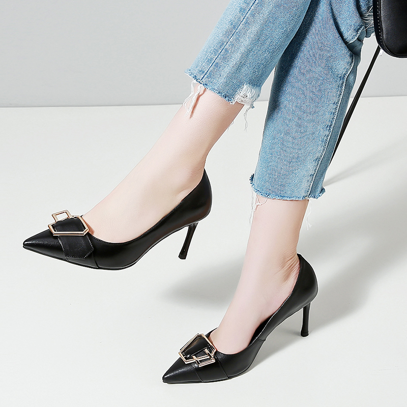 Pumpe toe Slip Echtem Verpackung Spitz Frauen Cm Schuhe Box Black High Heels khaki Stil Sommer Aus 8 338 on Sexy Kleid Leder Pumpen 88 aqnpPxqT