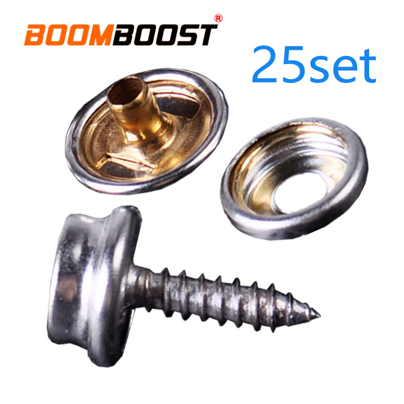 Fastener Sockets Boat Marine Snap Button 25set Studs Kit Fit For Canvas Tent Canopy Black/sliver Marine Cover Stainless Steel Automobiles & Motorcycles Interior Accessories