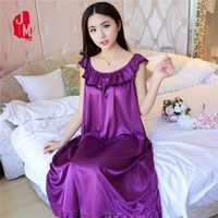 5XL été chemise de nuit en soie femmes vêtements de nuit solides femmes Satin dentelle chemise de nuit en soie vêtements de nuit sexy dames maison robe sommeil L-3XL 4XL