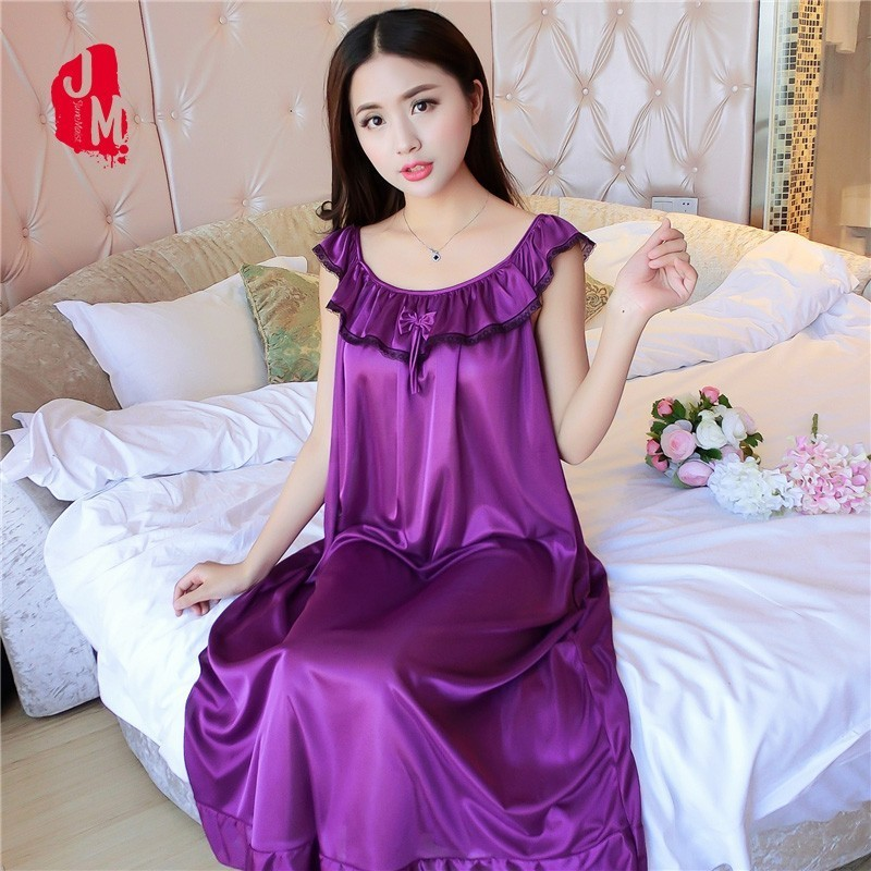 5XL Summer Silk Nightgown Women Solid Sleepwear Women Satin Lace Nightdress Silk Sexy Nightwear Ladie Home Dress Sleep L-3XL 4XL