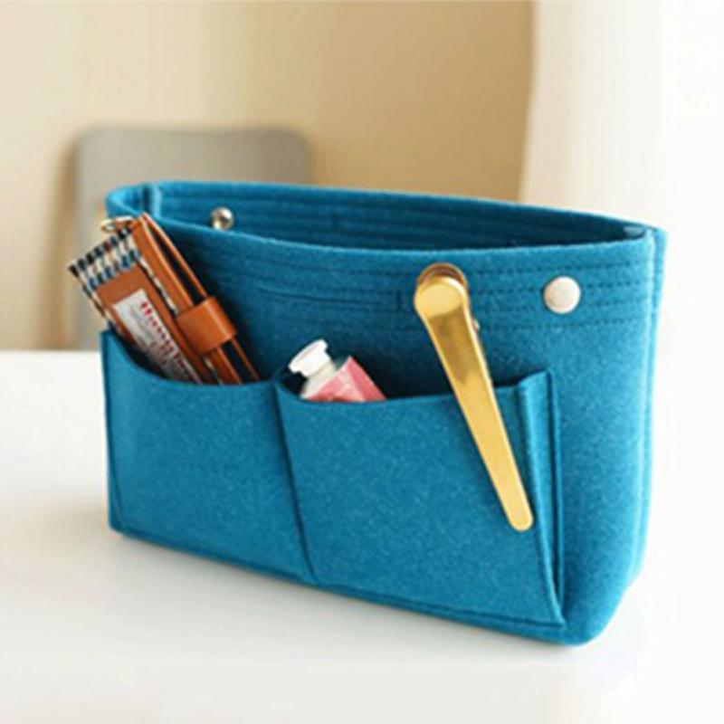 Womens Cosmetic Bag Makeup Organizer Felt Cloth Insert Bag Multifunctional Makeup Bag for Ladies Travel Organizer