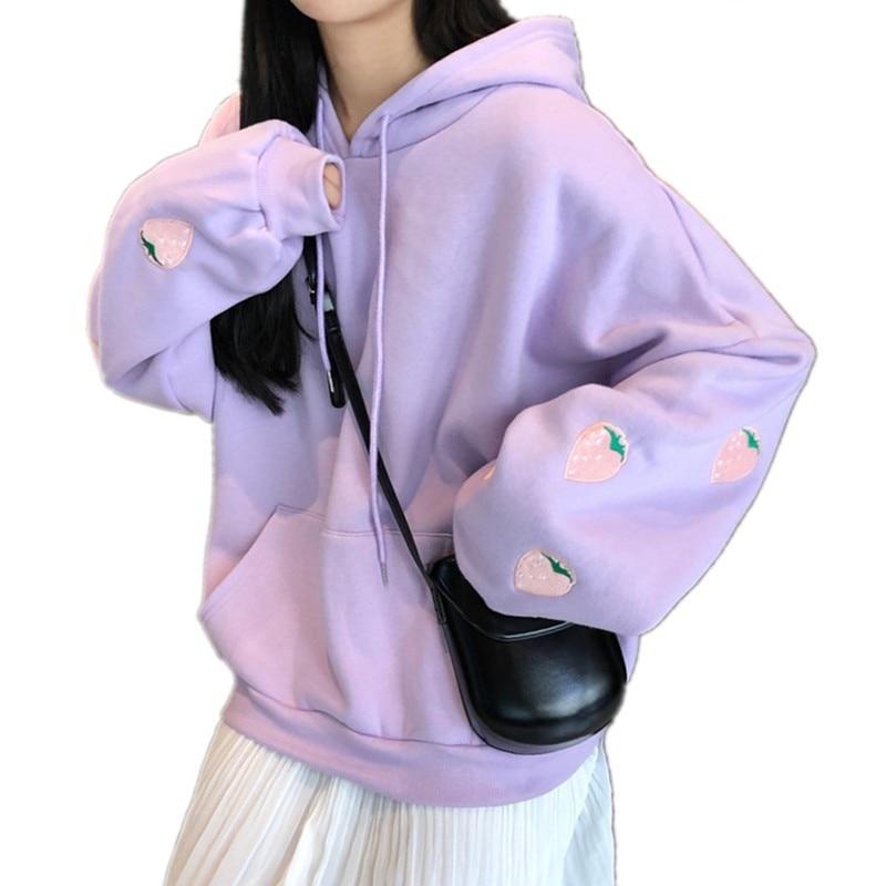 Harajuku Strawberry Embroidery Lavender White Sweatshirt Autumn Winter Women Kawaii Loose Long Sleeves Tops Oversized Hoodies